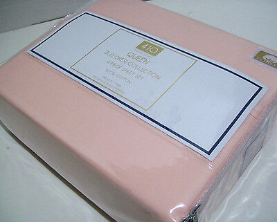 410 Thread Count Pink Pearl Blush Cotton Single PLY Yarn Queen Sheet Set New