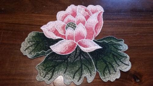 XL Patch Seerose Lotus Blume rosa mit Blättern Blatt Blüte Aufnäher zum Aufnähen