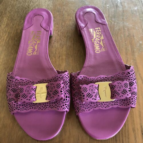 Salvatore Ferragamo Slides Size 8.5B Laser Cut Near New In Box Made in Italy