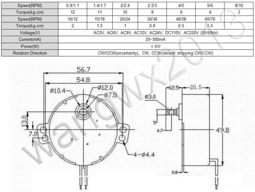 AC5V 6V 9V 12V 24V 110V 220V TYC Plastic Gear Synchronous Reduction Gear Motor S