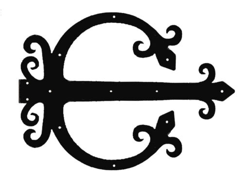 "Iron A pair 20/"" False Gothic Garage Church Door Hinges in Black Finish Steel"