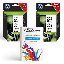 Original HP 301 oder HP 302 Druckerpatronen Sets + PlatinumSerie Fotopapier
