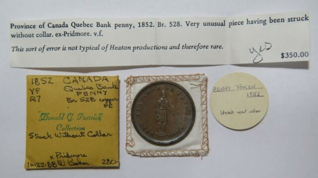 CANADA QUEBEC BANK 1852 ONE PENNY TOKEN EX: DONALD G PARTRICK BRETON 528 ERROR🌈