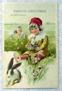 1916-EASTER-GREETINGS-POSTCARD-LITTLE-GIRL-FIELD-OF-FLOWERS-RABBIT-BASKET-5