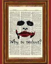 The Joker Heath Ledger Dictionary Art Poster Dark Knight Batman Why So Serious