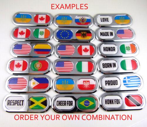 Canada Portugal Double Country Flag Car Chrome Emblem Decal Sticker Badge DC