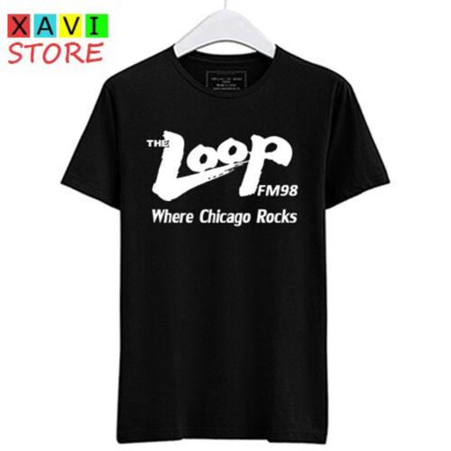 The Loop FM 98 radio Where Chicago Rocks FM98 Men/'s Black T-Shirt Size S-3XL