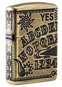 Zippo-Armor-Antique-Brass-Ouija-Board-Design-Windproof-Pocket-Lighter-49001