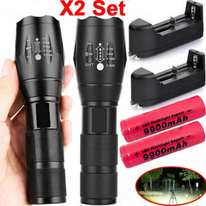 90000LM-Tactical-T6-Zoomable-LED-Flashlight-Torch-Light-18650-Battery-amp-Charger