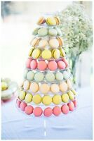 10-tier Face-front Round French Macaron Tower Dessert Stand W/ Acrylic Base