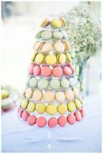 RARE 10-TIER FACE-FRONT ROUND FRENCH MACARON TOWER DESSERT STAND w/ ACRYLIC BASE