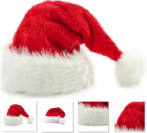 New-Deluxe-XMAS-Polyester-Santa-Hat-Pom-Father-Christmas-Fancy-Dress-Fur-Hats