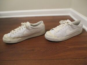 Used-Worn-Size-11-Nike-All-Court-Low-Leather-Shoes-Perforated-White