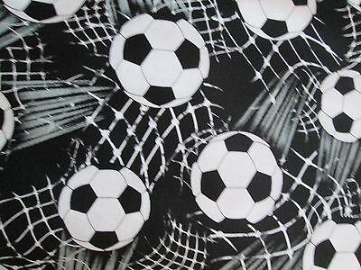 Soccer Ball Futbol Sports Olympics Fifa Overall Black White Cotton Fabric FQ