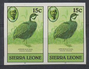 Sierra Leone. 1980 Birds. 15c imperforate pair. Unmounted mint.