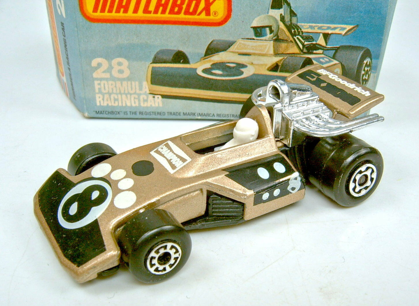 MATCHBOX sf Nº 28d Formula racing car marron    double pression  top dans Box cefbe2