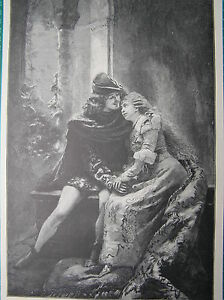 Antique-print-portrait-Romeo-and-Juliet-Constantin-Makowski-holzstich-Julia-1898