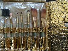 7 Pcs Leather Case Bag Pro Eyeshadow Cosmetic Brushes Makeup Set Kit UK Seller