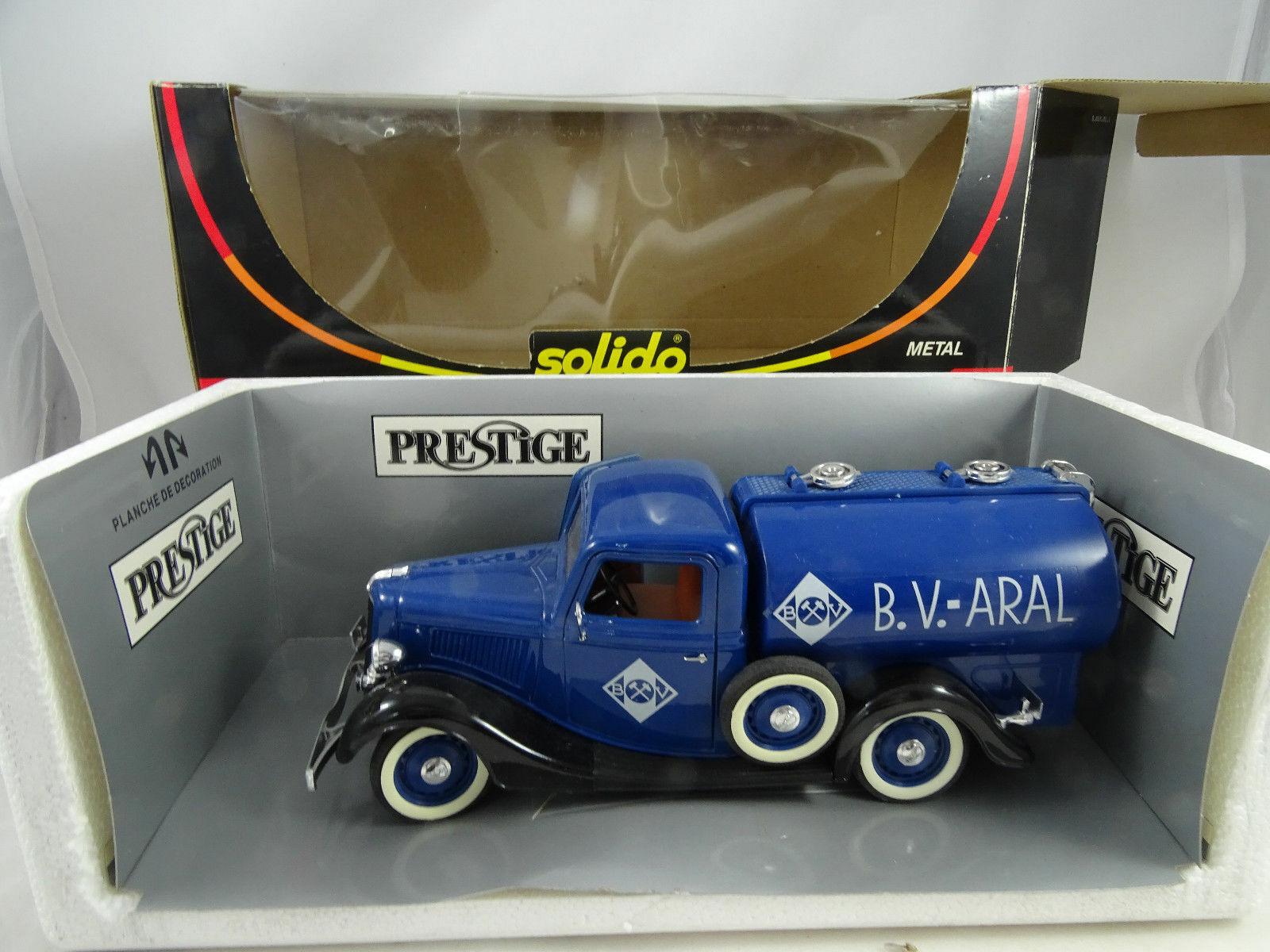 1 18 Solido Prestige 1936 Ford V8 B.V.-ARAL Tankwagen blau neuwertig