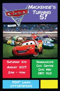 Image Is Loading Personalised Lightning McQueen Cars 3 Birthday Party Invites