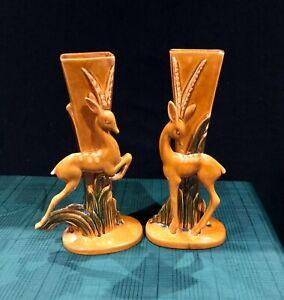Iconic-Pair-of-Royal-Haegar-Art-Deco-Gazelle-Vases-R706-707-Mid-century-Modern