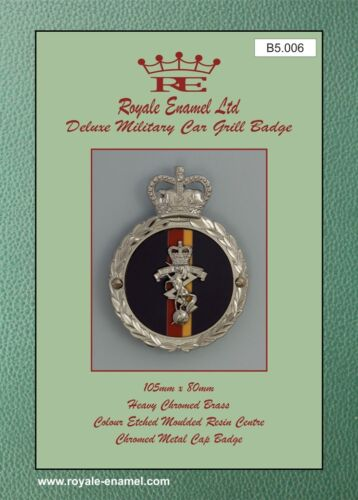 Royale Heavy Chromed Brass Car Badge B5.006 ROYAL ELECTRICAL MECHANICAL REME