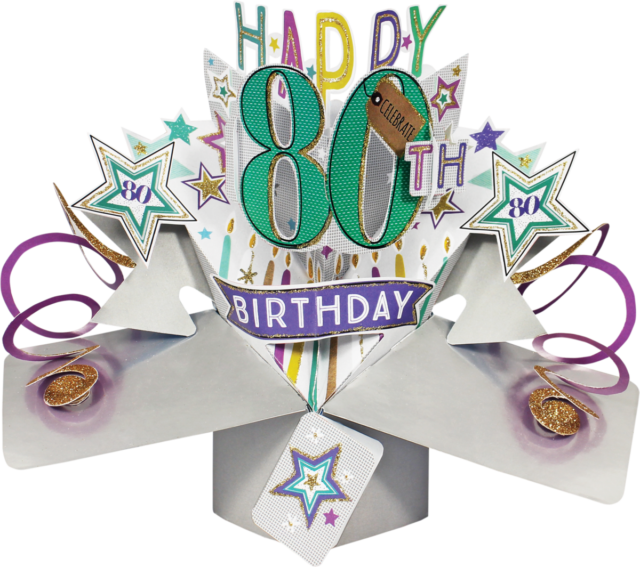 Second Nature 3d Pop Up 80th Happy Birthday Card Stars Celebrate