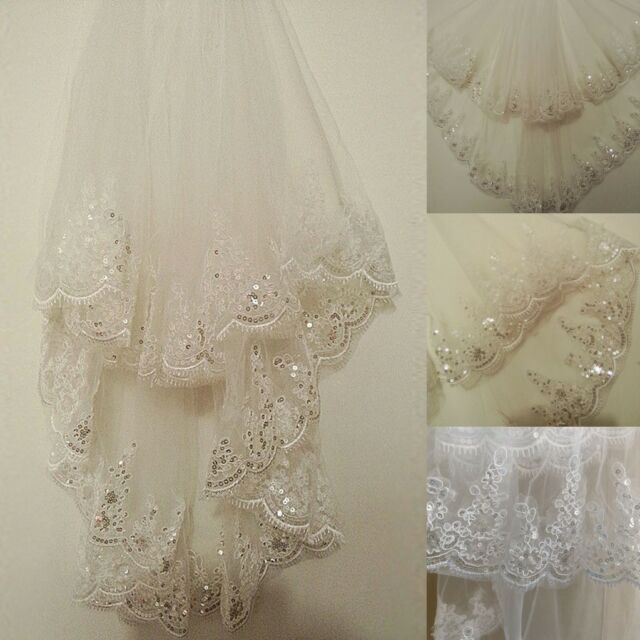 2T White/Ivory Lace Bridal Wedding Veil Sequins Lace Edge With Comb Fingertip