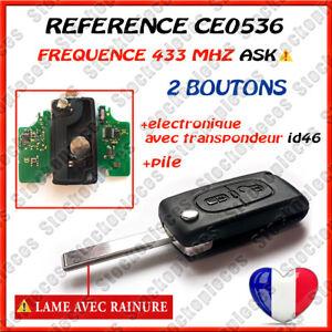 CLE-VIERGE-CE0536-ID46-PEUGEOT-207-307-308-SW-2-BOUTONS-LAME-AVEC-RAINURE-ASK