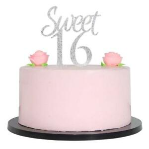 Image Is Loading Sweet 16 Cake Topper Silver Sixteen