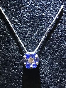 Collier Choker White Gold 18 Carats Light Spot MTG Flower Diamond And Sapphires