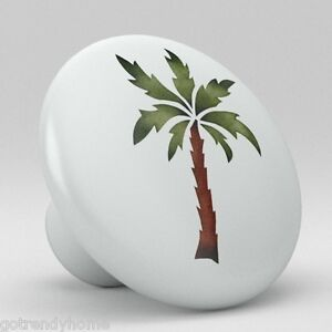 Image Is Loading Palm Tree Tropical Ceramic S Pulls Kitchen Drawer