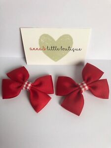 534dbf41394d red bows with red  white gingham girls school hair bow set 4 ...