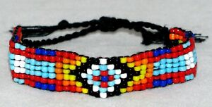 Beaded-Bracelet-MULTICOLOR-Handmade-Tribal-OA-Pow-Wow-Fits-6-034-to-7-5-034-BR7