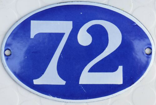 pick Old blue French house number 72 door gate wall plate steel enamel sign
