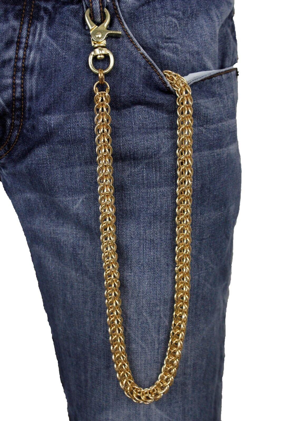 Men Women Gold Metal Key Wallet Multi Chain Links Ring Woven Biker Great Jewelry