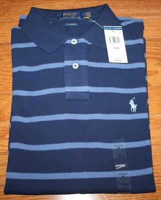 467fca44f NEW NWT Mens Polo Ralph Lauren Custom Fit Polo Shirt Pony Logo Navy Striped  *F4
