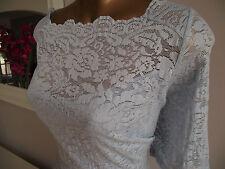 BN M&S BLUE LACE FLORAL BODYCON SHIFT WEDDING MOTB DRESS +2ml MONSOON PERFUME 22