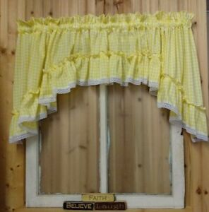 Yellow Gingham Ruffled Swag Valance Curtain 82 Quot Wide X 36