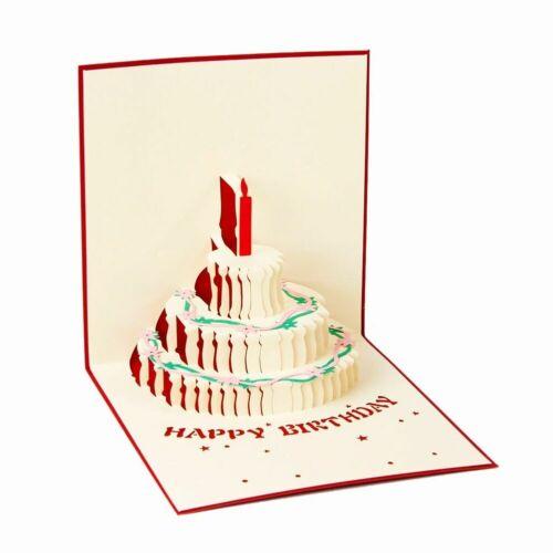 Cute 3D Up Birthday Cake Greeting Card Handmade Happy HOT Birthday Sell O5B5