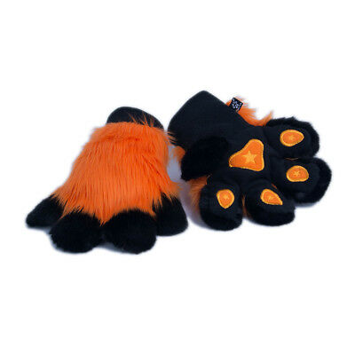 Furry Fingerless Gloves Costume adult Orange 3101 OR PAWSTAR Paw Arm Warmers