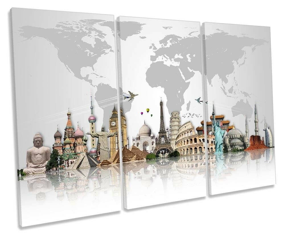Famous Landmarks World Map Framed TREBLE CANVAS PRINT Wall Art