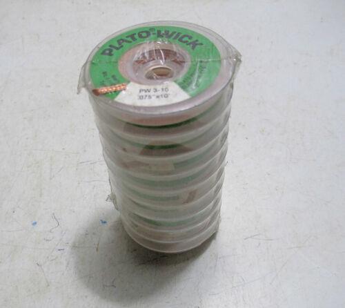 Green Label Solder 10 New Rolls Plato-Wick PW3-10 Desolder Wick .075 x 10/'