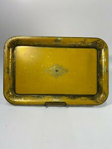 "VTG Golden Metal Serving Tray Rectangular 17.75"" X 11.5"" No Dents"