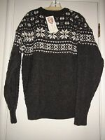 Inis Crafts Nordic Pullover 100% Wool Sweater Gray Made In Ireland Sz L Mens