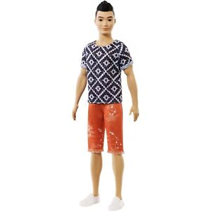Orange Shorts Barbie Ken Fashionista 115 Asian Doll Geometric Shirt