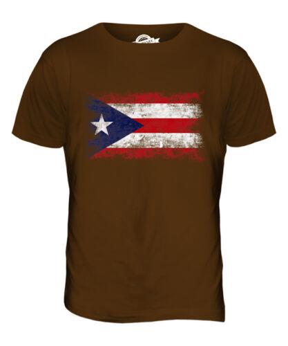 PUERTO RICO DISTRESSED FLAG MENS T-SHIRT TOP PUERTO RICAN SHIRT FOOTBALL GIFT