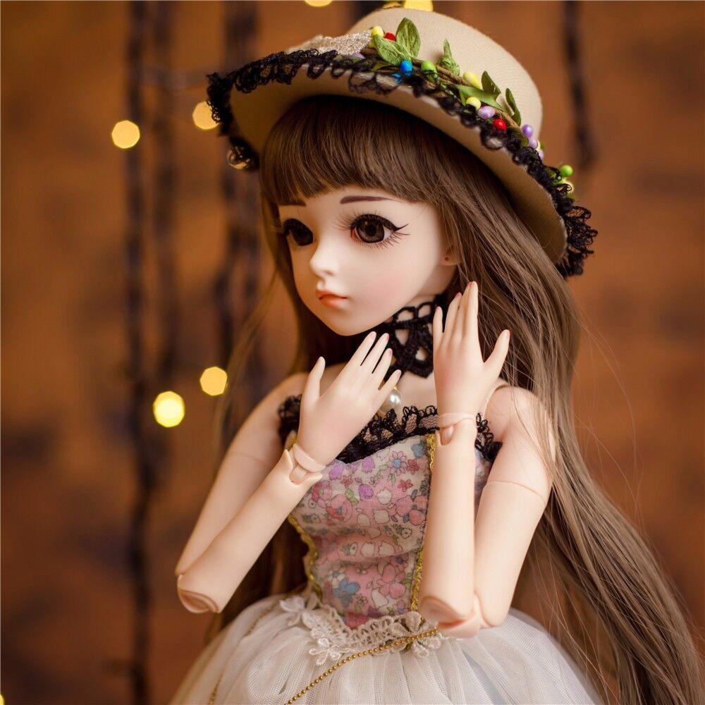 Jointed BJD BAMBOLA 13 bambole Reborn Ragazza Abito parrucche CAPPELLO rendereup Bellezza