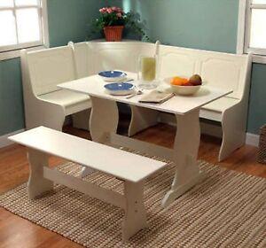 Beau Details About Corner Nook Dining Set Breakfast Bench Kitchen Booth Dinette  Table White Storage