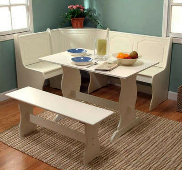 Corner Nook Dining Set Breakfast Bench Kitchen Booth Dinette Table White Storage